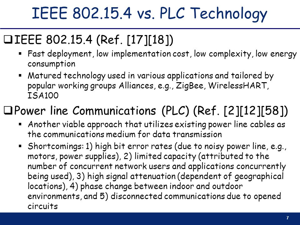 IEEE 802.15.4 vs. PLC Technology IEEE 802.15.4 (Ref. [17][18])